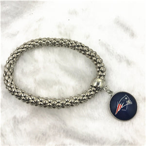 6pcs/lot Football Sport New England Patriots Bracelet Elastic Snake Chain women Bracelet&Bangles USA Fans Bracelet Jewelry