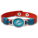 6pcs/lot! Miami Dolphins Genuine Leather Adjustable Bracelet Wristband Cuff 12mm Orange Leather Snap Button Charm Jewelry
