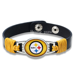 6pcs/lot! Pittsburgh Steelers Genuine Leather Adjustable Bracelet Wristband Cuff 12mm Black Leather Snap Button Charm Bracelet