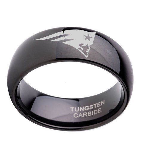 8mm Male Unique Christmas Gift Black Tungsten Wedding Anniversary Band Ring with New England Patriots Engraved Dropshipping