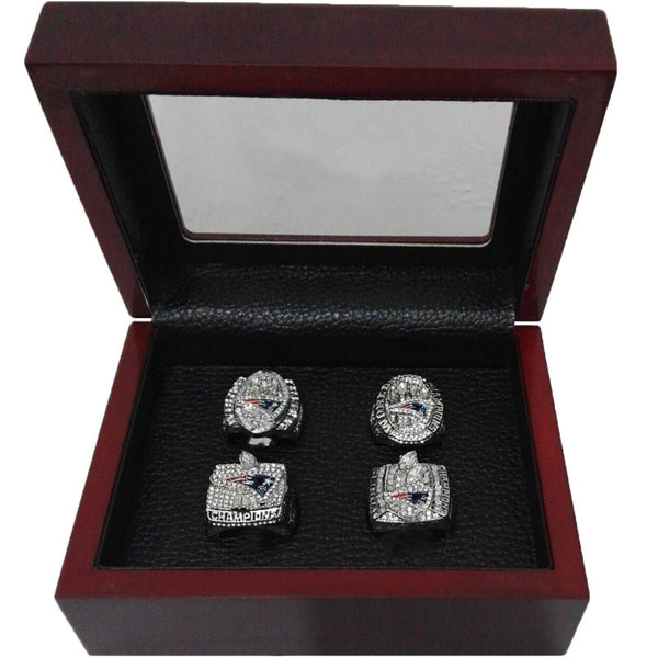 Alloy Rings Sets for Replica Super Bowl 4 Years Sets 2001/2003/2004/2014 New England Patriots Championship Ring With Wooden Box