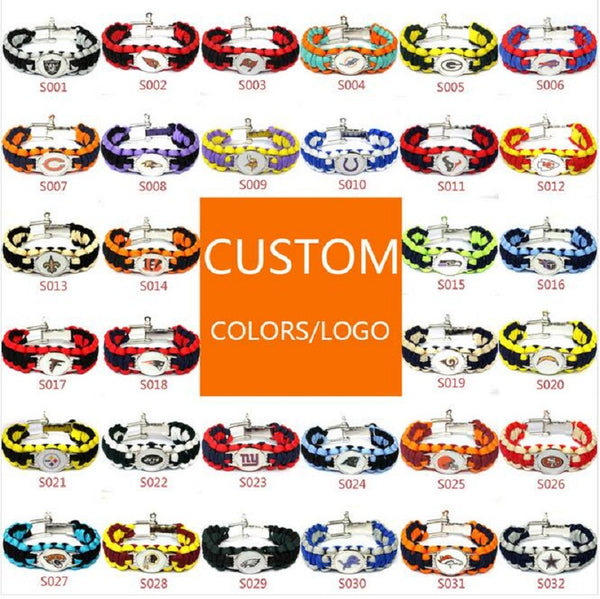 American football bracelet 13 teams for choose San Francisco 49ers 25cm umbrella braided bracelet football fans gift 10pcs