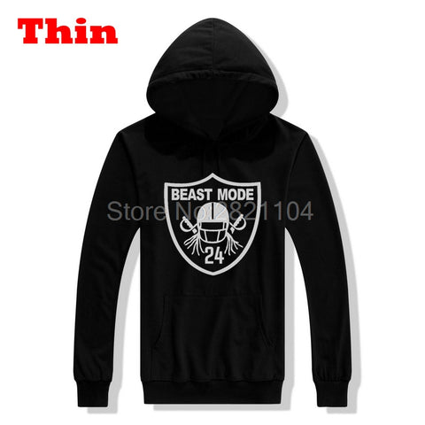 Asian Size 2017 Beast Mode Oakland Marshawn Lynch hoodie Casual Hooded Pullovers Sweatshirts for Raiders fans 0428-4
