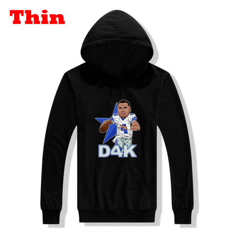 Asian size 2017 Dak Prescott d4k dallas Men Sweashirt Women hoodies for cowboys gfit 0902-16