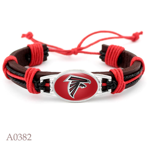 Atlanta Falcons Football Team Real Leather Bracelet Adjustable Mens  Real Leather Bracelet For Men and Women 10 PCS
