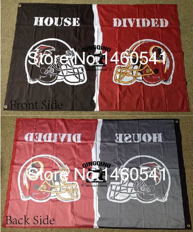 Atlanta Falcons Washington Redskins Helmets House Divided Flag 3ft x 5ft Polyester NFL Banner Size No.4 144*96cm QingQing Flag