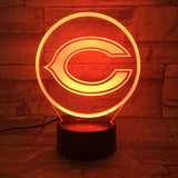 Baby Night Light Team Logo Chicago Bears Bedside Table Lamp Creative optical illusion LED Desk Lampen Indoor deco Lumineuse