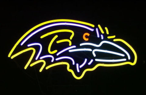 Business Custom NEON SIGN board For Football LED Baltimore Ravens REAL GLASS Tube BEER BAR PUB Club Shop Light Signs 14*10""