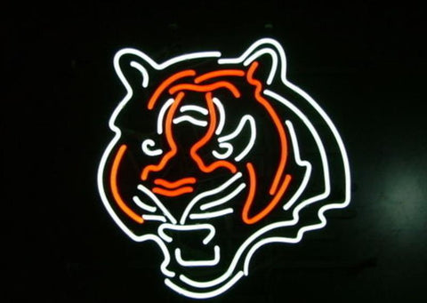 Business Custom NEON SIGN board For Football LED Cincinnati Bengals REAL GLASS Tube BEER BAR PUB Club Shop Light Signs 15*14""