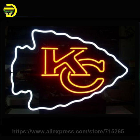 Business Custom NEON SIGN board For Football LED Kansas City Chiefs REAL GLASS Tube BEER BAR PUB Club Shop Light Signs 17x14 vd