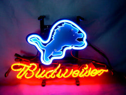 Business NEON SIGN board For  DETROIT LIONS   Football  Basketball Real GLASS Tube BEER BAR PUB Club Shop Light Signs 17*14""