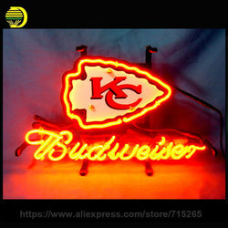 Business NEON SIGN board For Kansas City CHIEFS Football Budweiser REAL GLASS Tube BEER BAR PUB Club Shop Light Signs 17*14""
