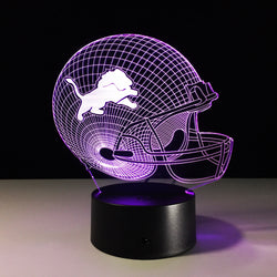 Creative NFL Detroit Lions Football Telmet Colorful Change Night Light Remote Control 3D LED Desk Lamps Souvenirs