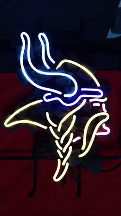 Custom Business NEON SIGN board For  MINNESOTA VIKINGS FOOTBALL REAL GLASS Tube BEER BAR PUB Club Shop Light Signs 17*14""