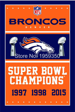 Denver Broncos Super Bowl Champions Flag 3ft x 5ft Polyester  flag 40112