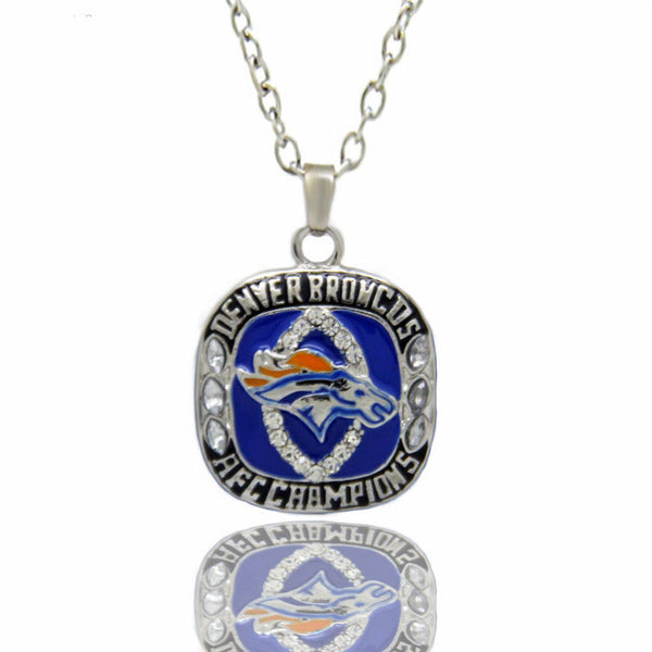Drop Shipping  Denver Broncos American Football championship necklace Pendent Statement  Men's Sports Jewelry Gifts For BoySon