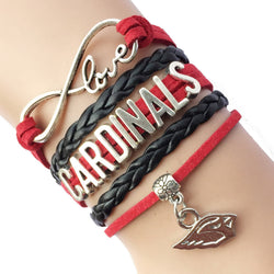 Drop Shipping Infinity  Love Arizona Cardinals Team Bracelet -Red /Black Velvet Leather  Braid Handmade Bird Charm Sports Gift