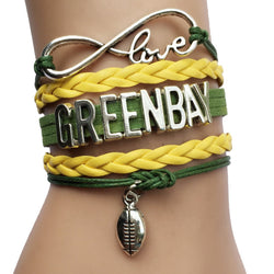 Drop Shipping Infinity Love Green Bay Packers NFL City Name Football Team Bracelets -Sports Gift