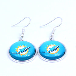 Earrings Miami Dolphin Charms Dangle Earrings Sport Earrings Football Jewelry for Women Birthday Party Gift 5 pairs
