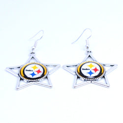 Earrings Pittsburgh Steelers Charms Dangle Earrings Sport Earrings Football Jewelry for Women Birthday Party Gift 5 pairs