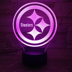 Fantastic 3D Table Lights NFL Team Logo Pittsburgh Steelers Night Light Transparent Acrylic LED Table Lamp New USB Bedside Lampy
