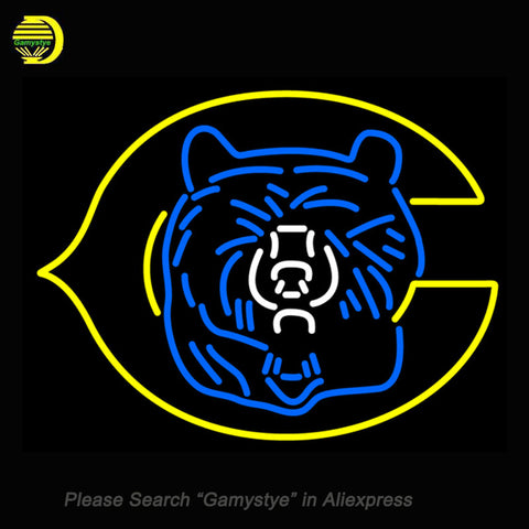 eb54eeffd4fe81 Fashion Neon Sign Chicago Bears Handcrafted Real Glass Lamp Neon Light Neon  Bulbs Sign Beerbar Sign