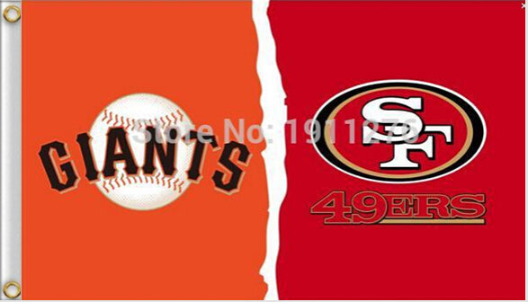 Free shipping  3 x 5ft  san francisco 49ers and san francisco Giants flag 100D Polyester Flag