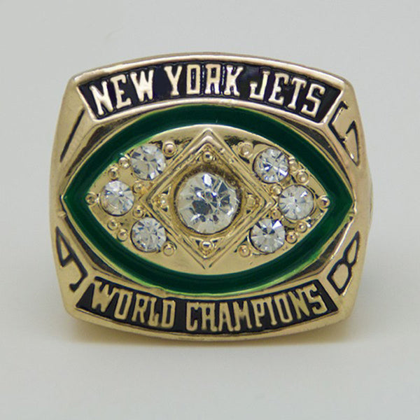 Free shipping sport Ring 1968 Super Bowl New York Jets Championship Ring Replica ring for businessman gift  big ring Size 11