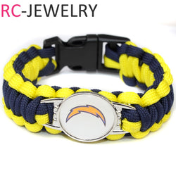 H020  Los Angeles Chargers Paracord Bracelet Adjustable Survival Bracelet Football Bracelet , Drop Shipping!