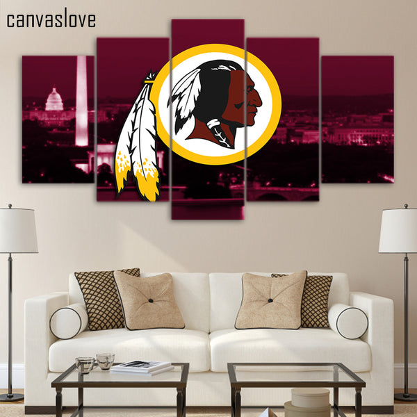 HD printed 5 piece canvas art washington redskins rugby NFL logo wall pictures for living room posters free shipping/UP-1542A