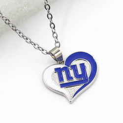 Heart Sports Pendant New York Giants USA Team Necklace Pendant Jewelry With Chain 50cm Necklace Jewelry 10pcs