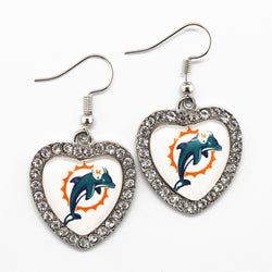 High Quality Crystal Heart Glass Earring Miami Dolphins Football Sports Team Alloy Silver Earrings Charms Jewelry For Women
