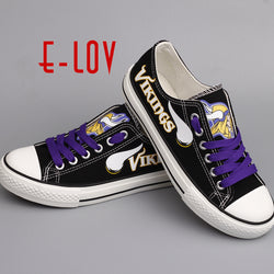 Hot Sale Summer Shoes NFL Minnesota Vikings USA Print Canvas shoes Men Boys Fans Customize Shoes Big Size Graffiti Casual Shoes