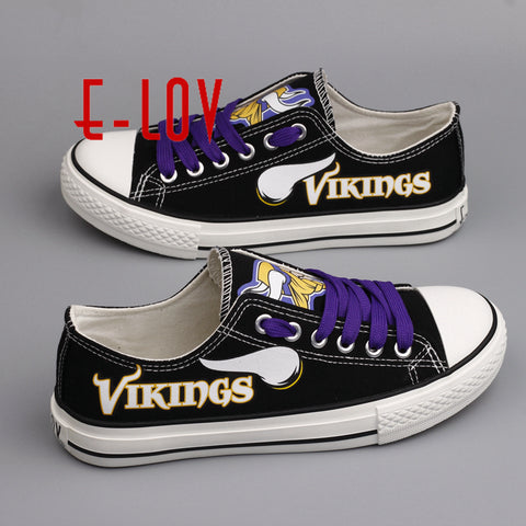 7fc06fd030a ... Hot Sale Summer Shoes NFL Minnesota Vikings USA Print Canvas shoes Men  Boys Fans Customize Shoes ...