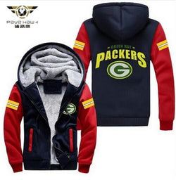 Hot Sales Deadpool USA size Men Women Green Bay Packers Zipper Jacket Thicken Hoodie Coat Clothing Casual