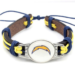 Hot Selling Los Angeles Chargers Football Team Leather Bracelet Adjustable Leather Cuff Bracelet For Men and Women Fans 10pcs