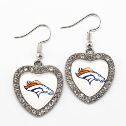 Hot sale Football Sports Denver Broncos Team Glass Heart Silver Alloy Earring Long Earrings Charms Crystal Earring Jewelry