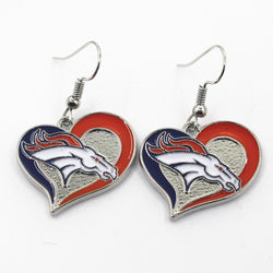 Hot selling Heart Enamel Denver Broncos Sports Earrings Football Team Earrings Charms Jewelry Women Erring 6pair/lot