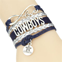 Infinity Love Dallas Cowboys bracelet football team Charm bracelet & bangles sport team gift for women men jewelry Drop Shipping
