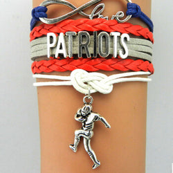 Infinity Love New England Patriots bracelet Football team Bow Charm bracelet & bangles NFL sport women men jewelry Drop Shipping