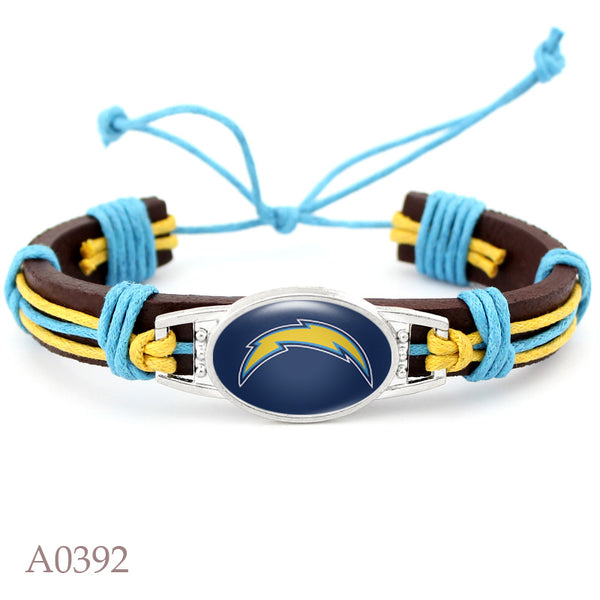Los Angeles Chargers Football Team Real Leather Bracelet Adjustable Mens  Real Leather Bracelet For Fans Gifts 10 PCS