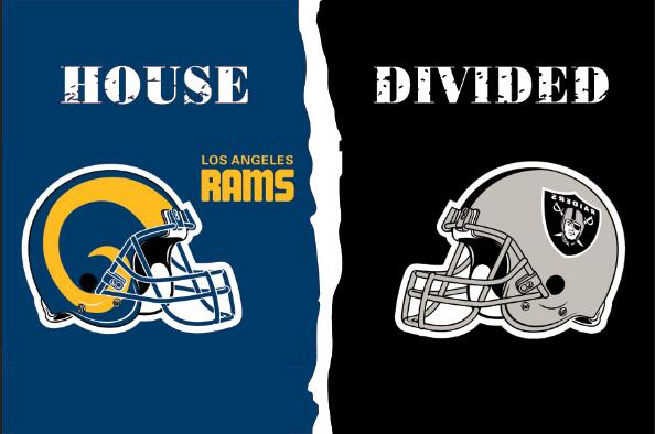 Los Angeles Rams VS Oakland Raiders House divided flag 100D polyester digital printed banner 150x90cm 71013