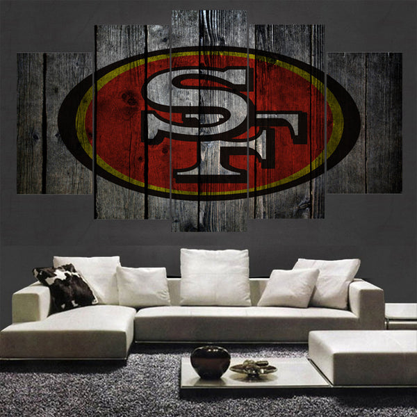 Modern Sport San Francisco 49ers Wall Art Modular Picture 5 Panels Canvas Paintings For Living Room Bedroom Kids Room Poster