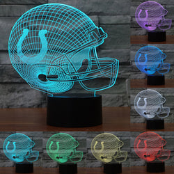 NFL 3D Acrylic Helmet Table lamp Touch 7 Colors Indianapolis Colts Desk lamps Lampara USB table desk Lamp touch switch IY803672