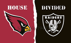 NFL Arizona Cardinals Oakland Raiders House Divided Flag 3x5ft 150x90cm Polyester Flag Banner, free shipping