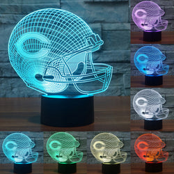 NFL Team Logo 3D Light Chicago Bears Football Helmet Sport Cap 3d LED Night Light colorful table desk Lamp touch switch IY803657