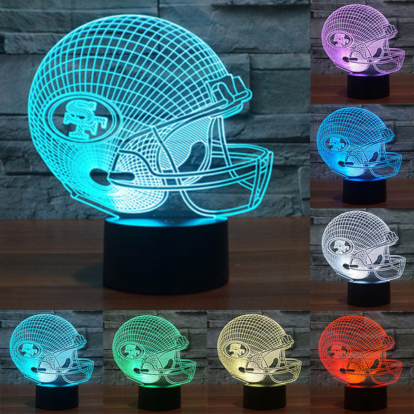 NFL Team Logo San Francisco 49ers Helmet Lamp 3D Visual Night Light Touch Button USB Desk Table lamps as Besides Light IY803674