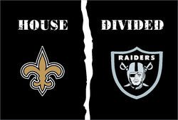 New Orleans Saints vs Oakland Raiders House Divided Rivalry Flag  3'*5' 100D Polyester free shipping