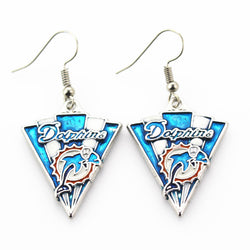New arrive 6pair/lot Miami Dolphins Football sports earrings women erring USA football team jewelry