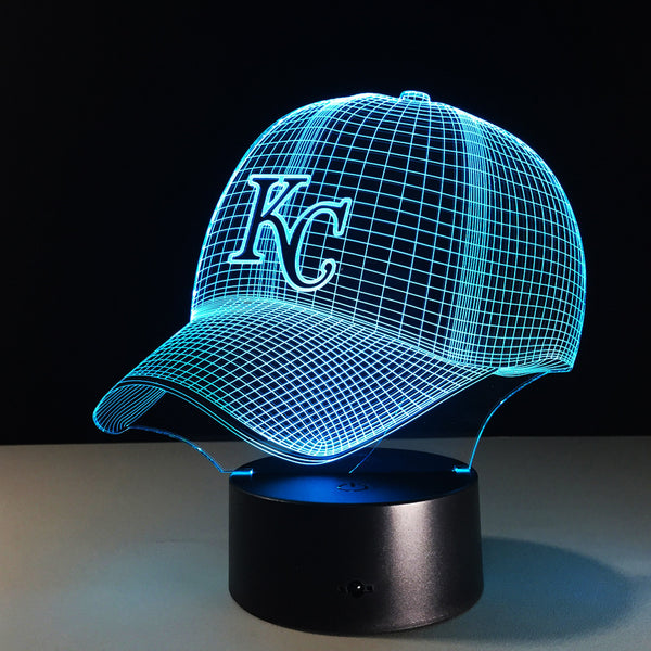 Novelty MBL Kansas City Chiefs Royals Baseball Cap Illusion LED Night Light Colorful Hologram 3D Desk Lamp for Home Decor Gifs